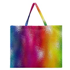 Color Glass Rainbow Green Yellow Gold Pink Purple Red Blue Zipper Large Tote Bag by Mariart