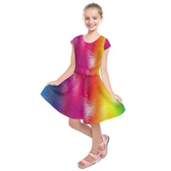 Color Glass Rainbow Green Yellow Gold Pink Purple Red Blue Kids  Short Sleeve Dress