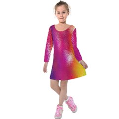 Color Glass Rainbow Green Yellow Gold Pink Purple Red Blue Kids  Long Sleeve Velvet Dress by Mariart