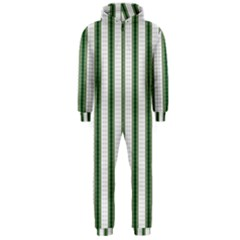 Plaid Line Green Line Vertical Hooded Jumpsuit (men)  by Mariart