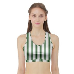 Plaid Line Green Line Vertical Sports Bra With Border by Mariart