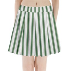 Plaid Line Green Line Vertical Pleated Mini Skirt by Mariart