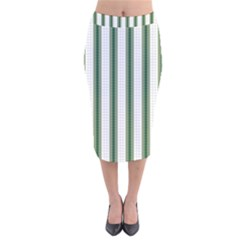 Plaid Line Green Line Vertical Velvet Midi Pencil Skirt by Mariart
