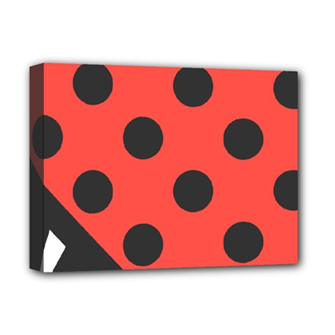 Red Black Hole White Line Wave Chevron Polka Circle Deluxe Canvas 16  X 12   by Mariart
