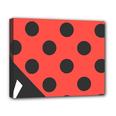 Red Black Hole White Line Wave Chevron Polka Circle Deluxe Canvas 20  X 16   by Mariart