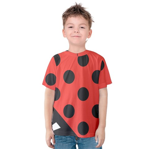 Red Black Hole White Line Wave Chevron Polka Circle Kids  Cotton Tee by Mariart