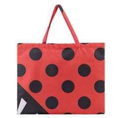 Red Black Hole White Line Wave Chevron Polka Circle Zipper Large Tote Bag by Mariart