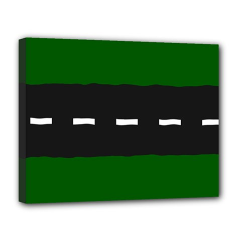 Road Street Green Black White Line Canvas 14  X 11  by Mariart