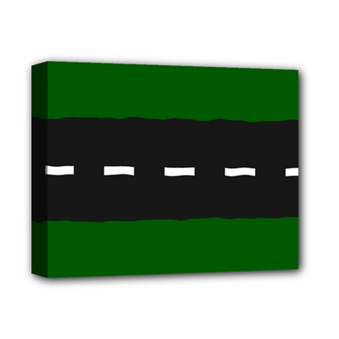 Road Street Green Black White Line Deluxe Canvas 14  X 11  by Mariart