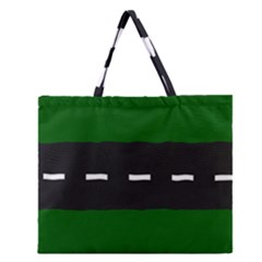 Road Street Green Black White Line Zipper Large Tote Bag by Mariart