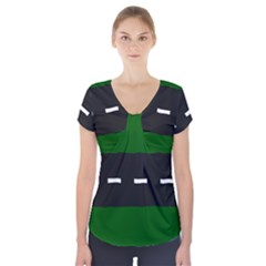 Road Street Green Black White Line Short Sleeve Front Detail Top by Mariart