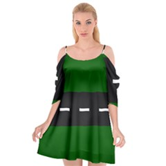 Road Street Green Black White Line Cutout Spaghetti Strap Chiffon Dress