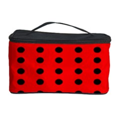 Red White Black Hole Polka Circle Cosmetic Storage Case by Mariart