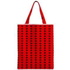 Red White Black Hole Polka Circle Zipper Classic Tote Bag by Mariart