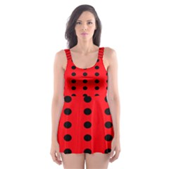 Red White Black Hole Polka Circle Skater Dress Swimsuit by Mariart