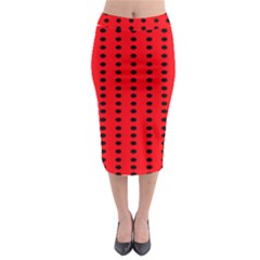 Red White Black Hole Polka Circle Midi Pencil Skirt by Mariart
