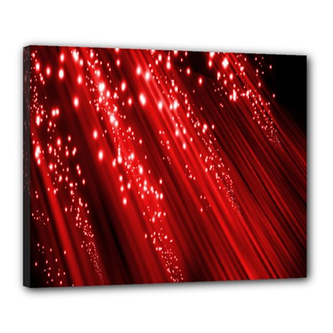 Red Space Line Light Black Polka Canvas 20  X 16