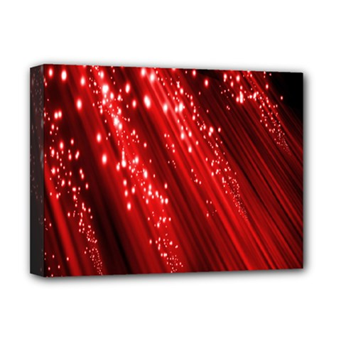Red Space Line Light Black Polka Deluxe Canvas 16  X 12   by Mariart