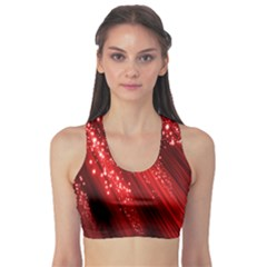 Red Space Line Light Black Polka Sports Bra by Mariart