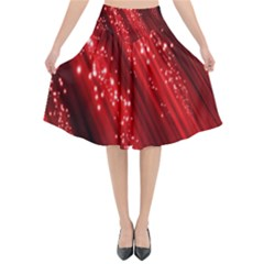 Red Space Line Light Black Polka Flared Midi Skirt by Mariart