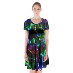Saga Colors Rainbow Stone Blue Green Red Purple Space Short Sleeve V Neck Flare Dress by Mariart