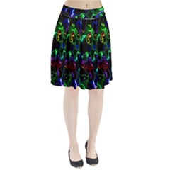 Saga Colors Rainbow Stone Blue Green Red Purple Space Pleated Skirt by Mariart