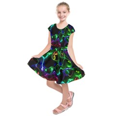 Saga Colors Rainbow Stone Blue Green Red Purple Space Kids  Short Sleeve Dress by Mariart