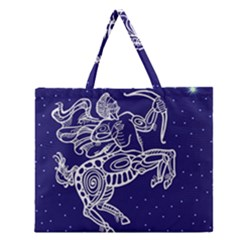 Sagitarius Zodiac Star Zipper Large Tote Bag
