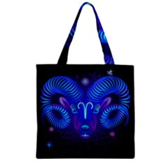 Sign Aries Zodiac Zipper Grocery Tote Bag by Mariart