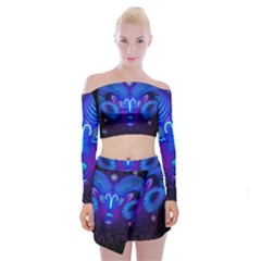 Sign Aries Zodiac Off Shoulder Top With Skirt Set
