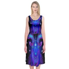 Sign Capricorn Zodiac Midi Sleeveless Dress by Mariart