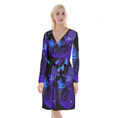 Sign Aquarius Zodiac Long Sleeve Velvet Front Wrap Dress by Mariart