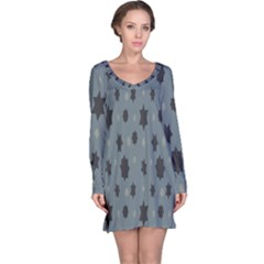 Star Space Black Grey Blue Sky Long Sleeve Nightdress by Mariart