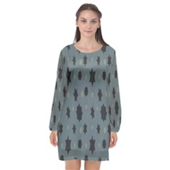 Star Space Black Grey Blue Sky Long Sleeve Chiffon Shift Dress  by Mariart