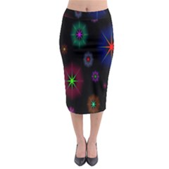 Star Space Galaxy Rainboiw Circle Wave Chevron Midi Pencil Skirt by Mariart