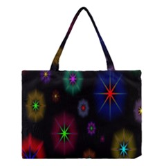 Star Space Galaxy Rainboiw Circle Wave Chevron Medium Tote Bag by Mariart