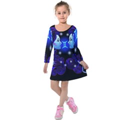 Sign Gemini Zodiac Kids  Long Sleeve Velvet Dress by Mariart