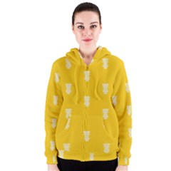 Waveform Disco Wahlin Retina White Yellow Vertical Women s Zipper Hoodie by Mariart