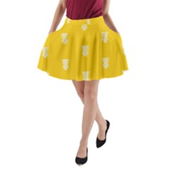 Waveform Disco Wahlin Retina White Yellow Vertical A Line Pocket Skirt by Mariart