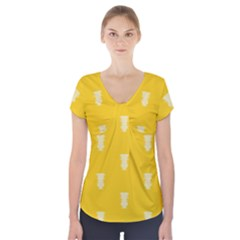 Waveform Disco Wahlin Retina White Yellow Vertical Short Sleeve Front Detail Top by Mariart