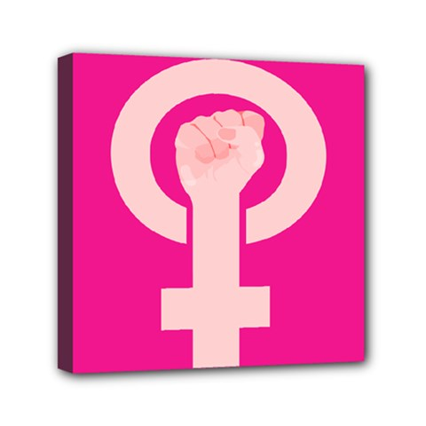 Women Safety Feminist Nail Strong Pink Circle Polka Mini Canvas 6  X 6  by Mariart