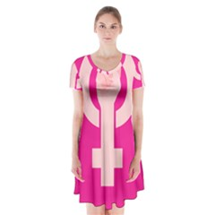 Women Safety Feminist Nail Strong Pink Circle Polka Short Sleeve V Neck Flare Dress by Mariart