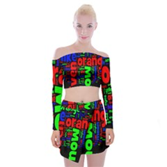 Writing Color Rainbow Off Shoulder Top With Skirt Set by Mariart