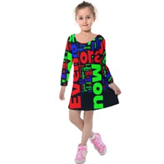 Writing Color Rainbow Kids  Long Sleeve Velvet Dress by Mariart