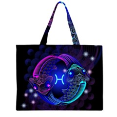 Sign Pisces Zodiac Zipper Large Tote Bag by Mariart