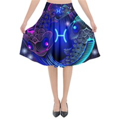 Sign Pisces Zodiac Flared Midi Skirt by Mariart