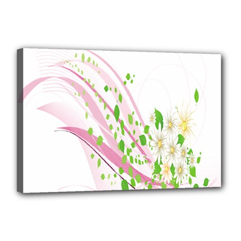 Sunflower Flower Floral Leaf Line Wave Chevron Pink Canvas 18  X 12  by Mariart