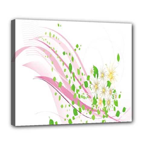 Sunflower Flower Floral Leaf Line Wave Chevron Pink Deluxe Canvas 24  X 20   by Mariart
