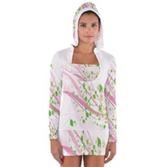 Sunflower Flower Floral Leaf Line Wave Chevron Pink Women s Long Sleeve Hooded T-shirt by Mariart