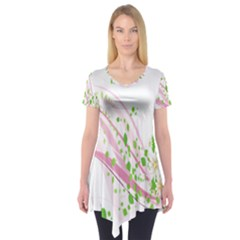 Sunflower Flower Floral Leaf Line Wave Chevron Pink Short Sleeve Tunic  by Mariart